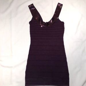 Dark Purple Dress with Sequin on straps